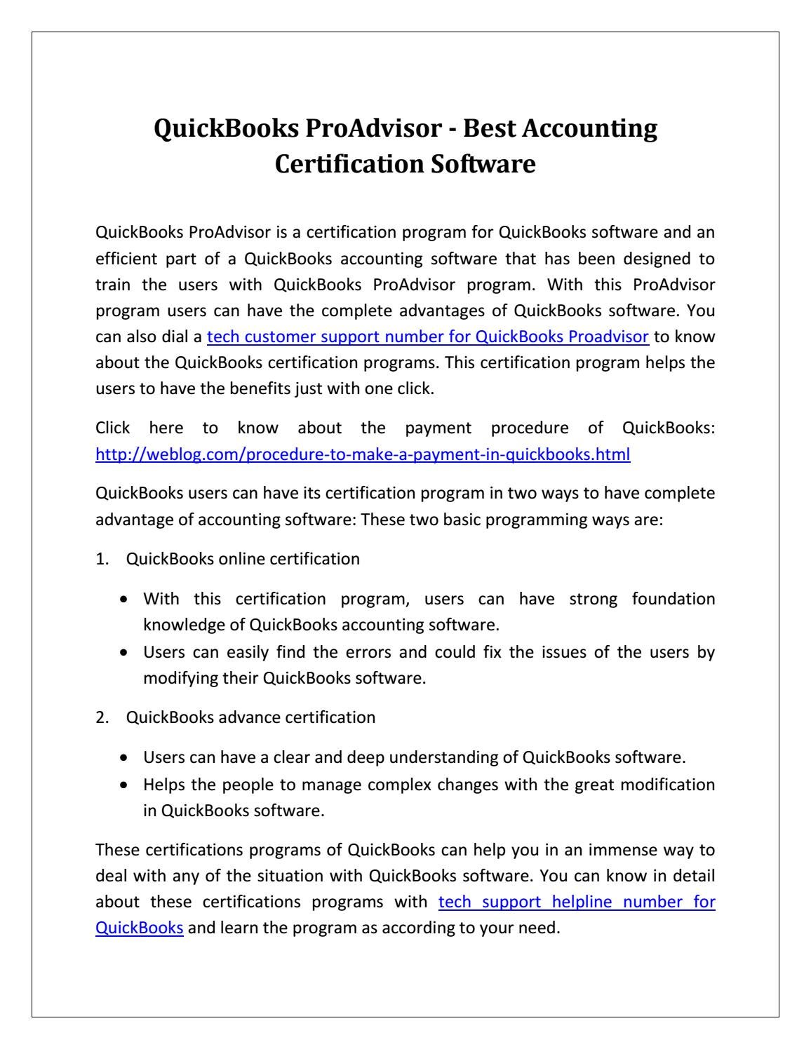 Quickbooks Proadvisor Best Accounting Certification Software By