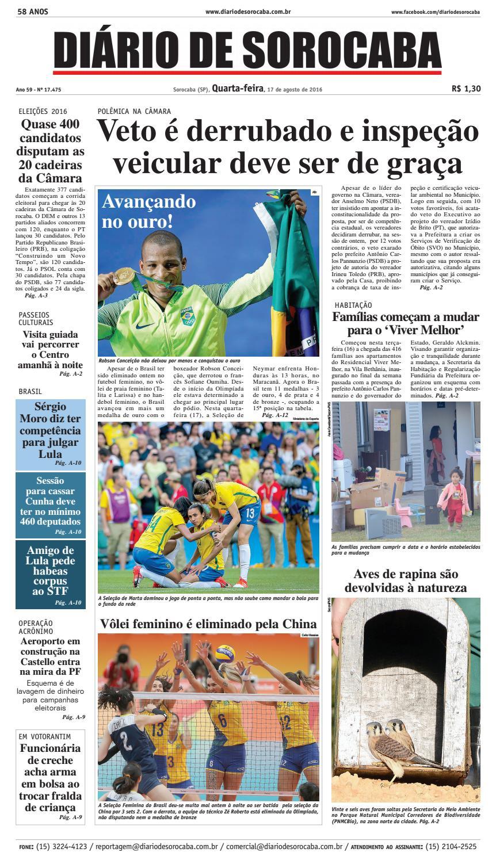 Edição de 17 de agosto de 2016 by DIÁRIO DE SOROCABA - issuu bd1149b2f8cac