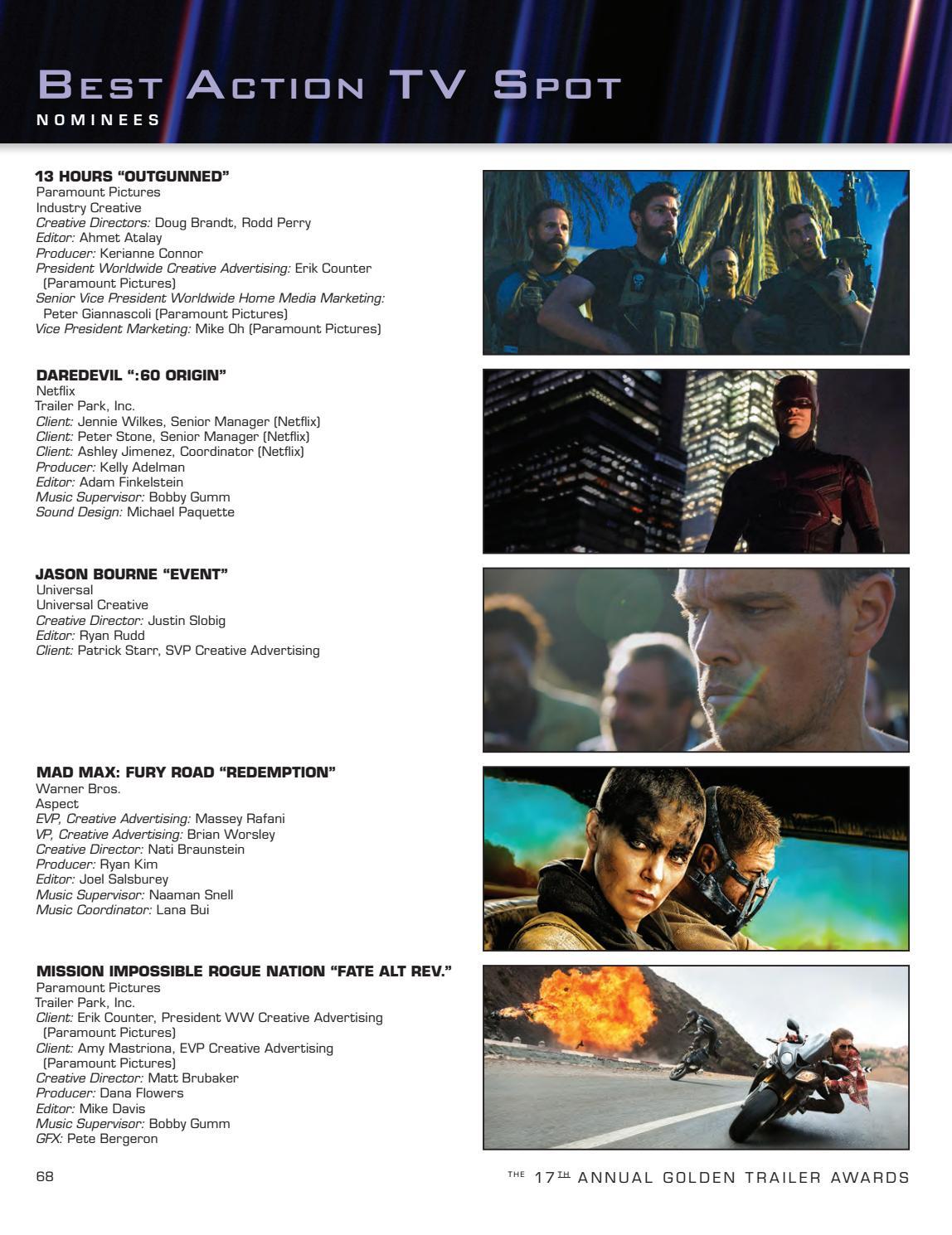 17th Annual Golden Trailer Awards Program Book (2016) by Trailer