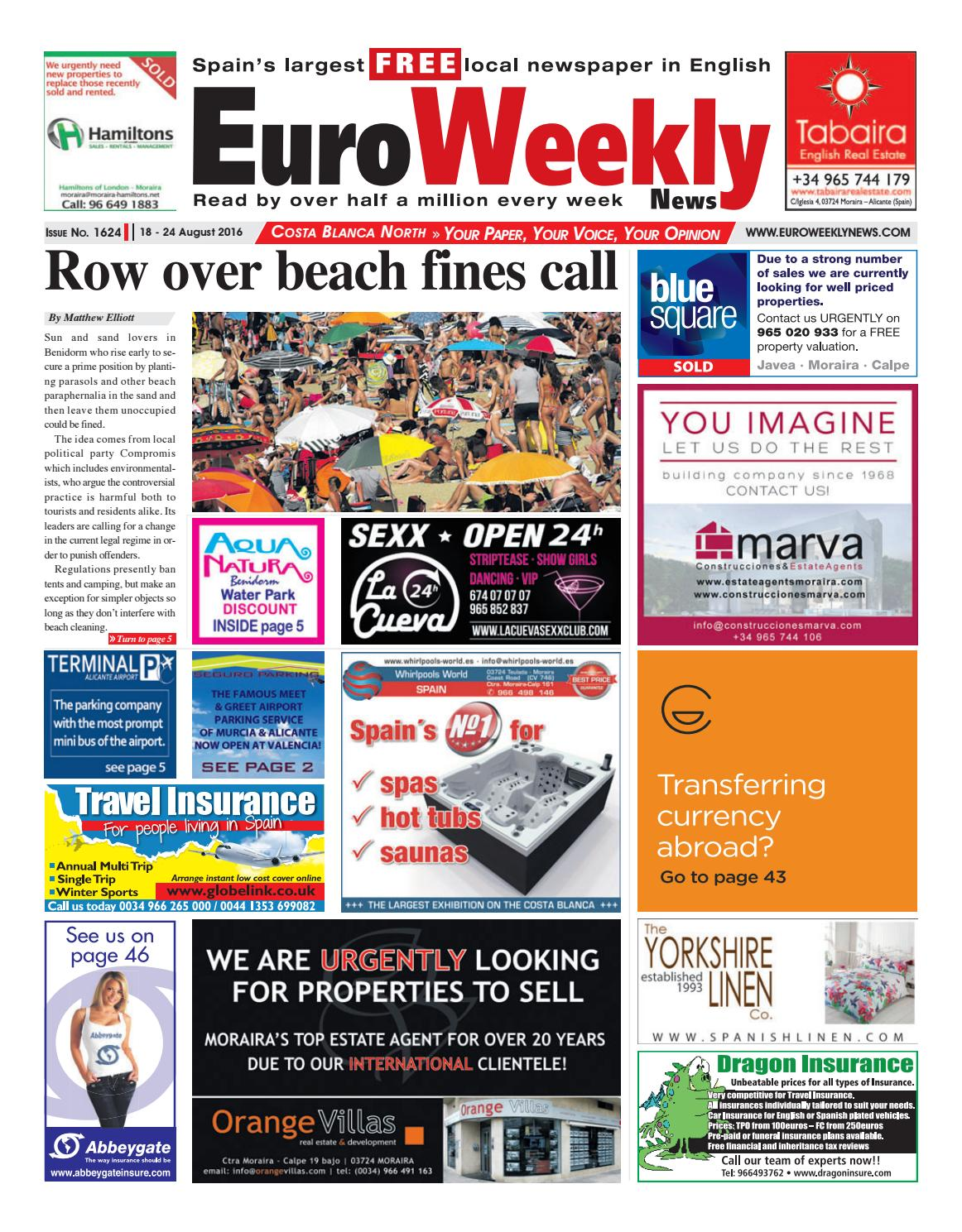Euro Weekly News - Costa Blanca North 18 - 24 August 2016 Issue 1624 by  Euro Weekly News Media S.A. - issuu