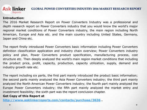 Global Power Converters Market Investment Feasibility, Analysis and