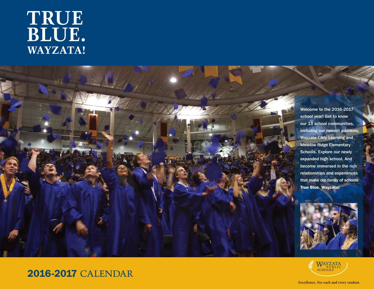 2016 2017 Wayzata Public Schools Calendar By Wayzata