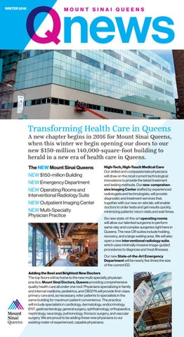 Qnews winter 2016 by Mount Sinai Health System - issuu
