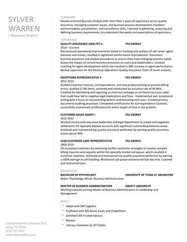 Sylver Warren Resume by Sylver Warren - issuu