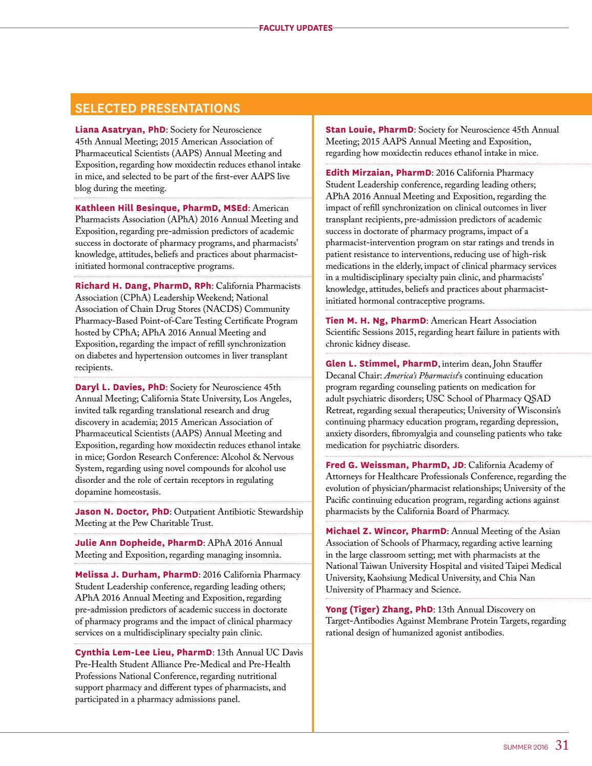 USC Pharmacy Magazine Summer 2016 by University of Southern