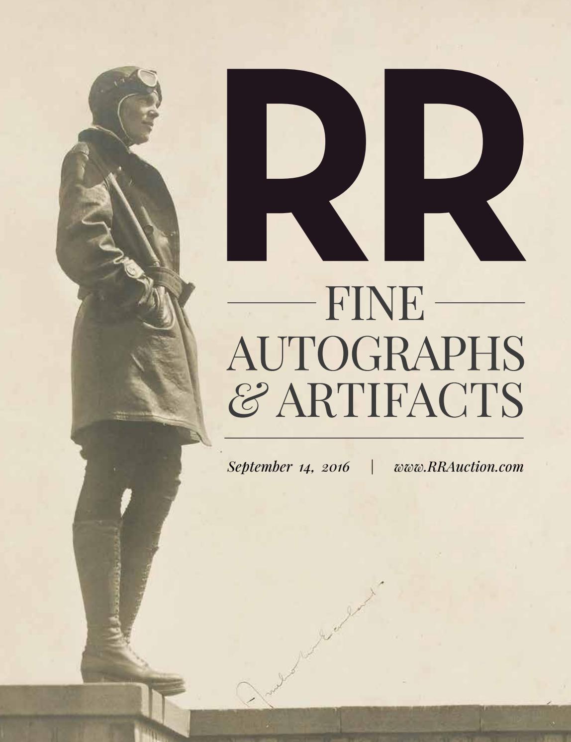 Rr Autograph Auctions Consignment Agreement: RR Auction: Fine Autograph And Artifact Auction September