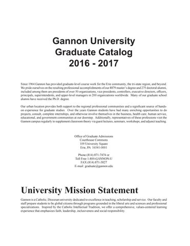 Gannon university graduate catalog 16 17 by gannon university issuu gannon university graduate catalog 2016 2017 since 1964 gannon has provided graduate level course work for the erie community the tri state region fandeluxe Image collections