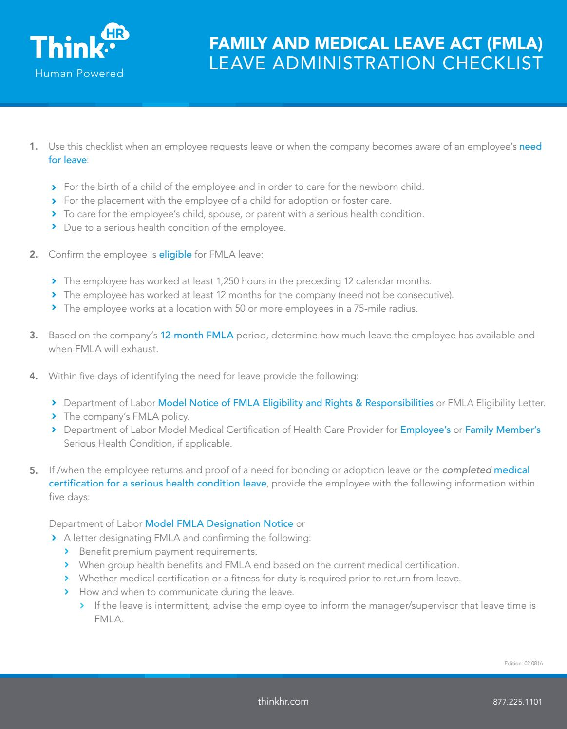 FMLA Leave Administration Checklist by Chris Estephan - issuu