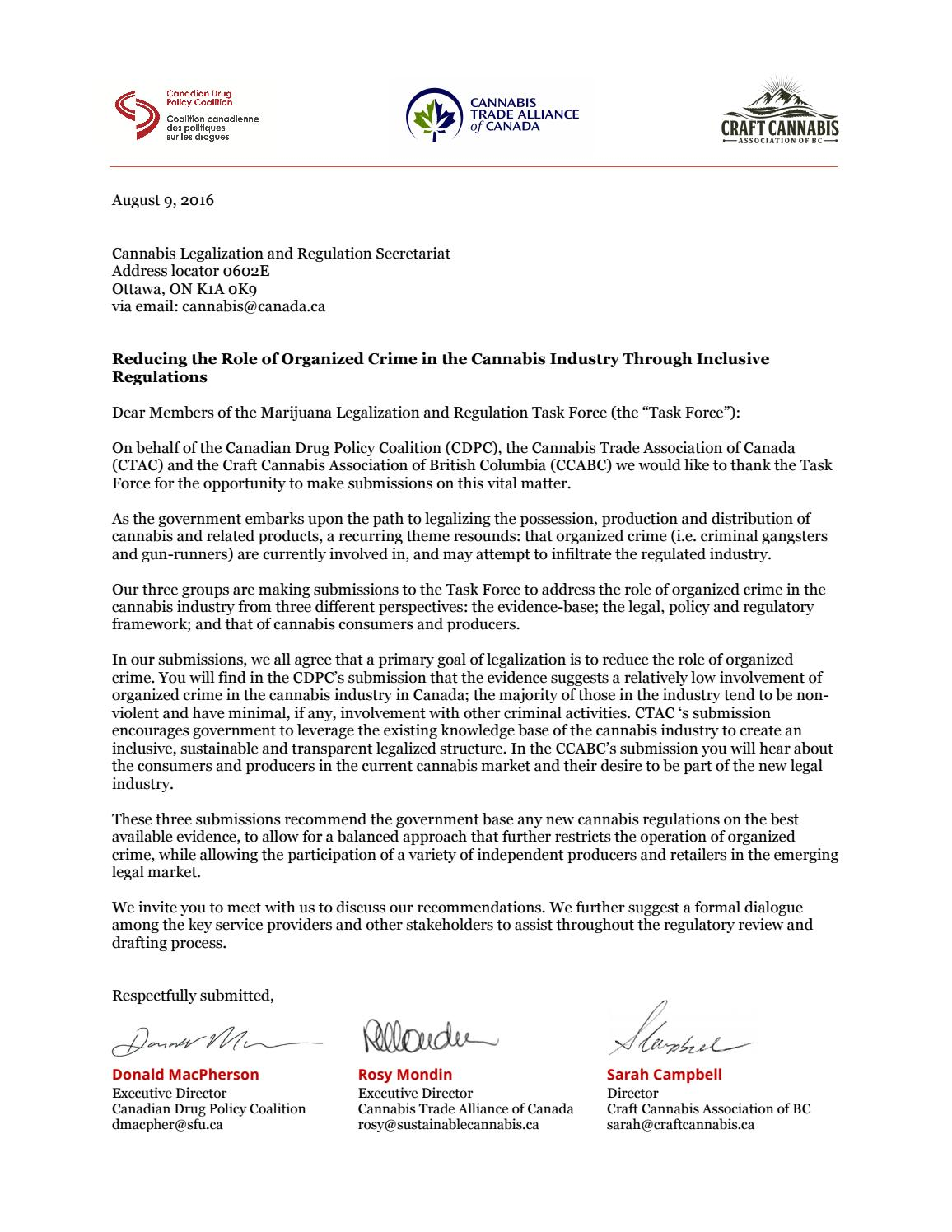 Cover Letter to Government of Canada\'s Task Force on ...