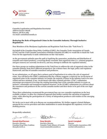 Cover letter to government of canadas task force on marijuana page 1 spiritdancerdesigns