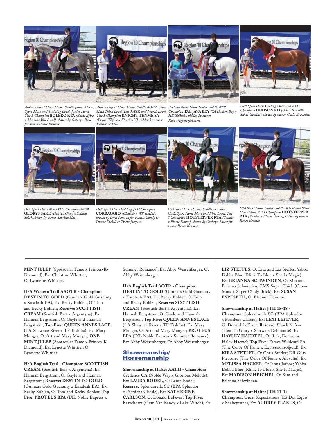 2016 Region 10 Directory, published in Arabian Horse Times by