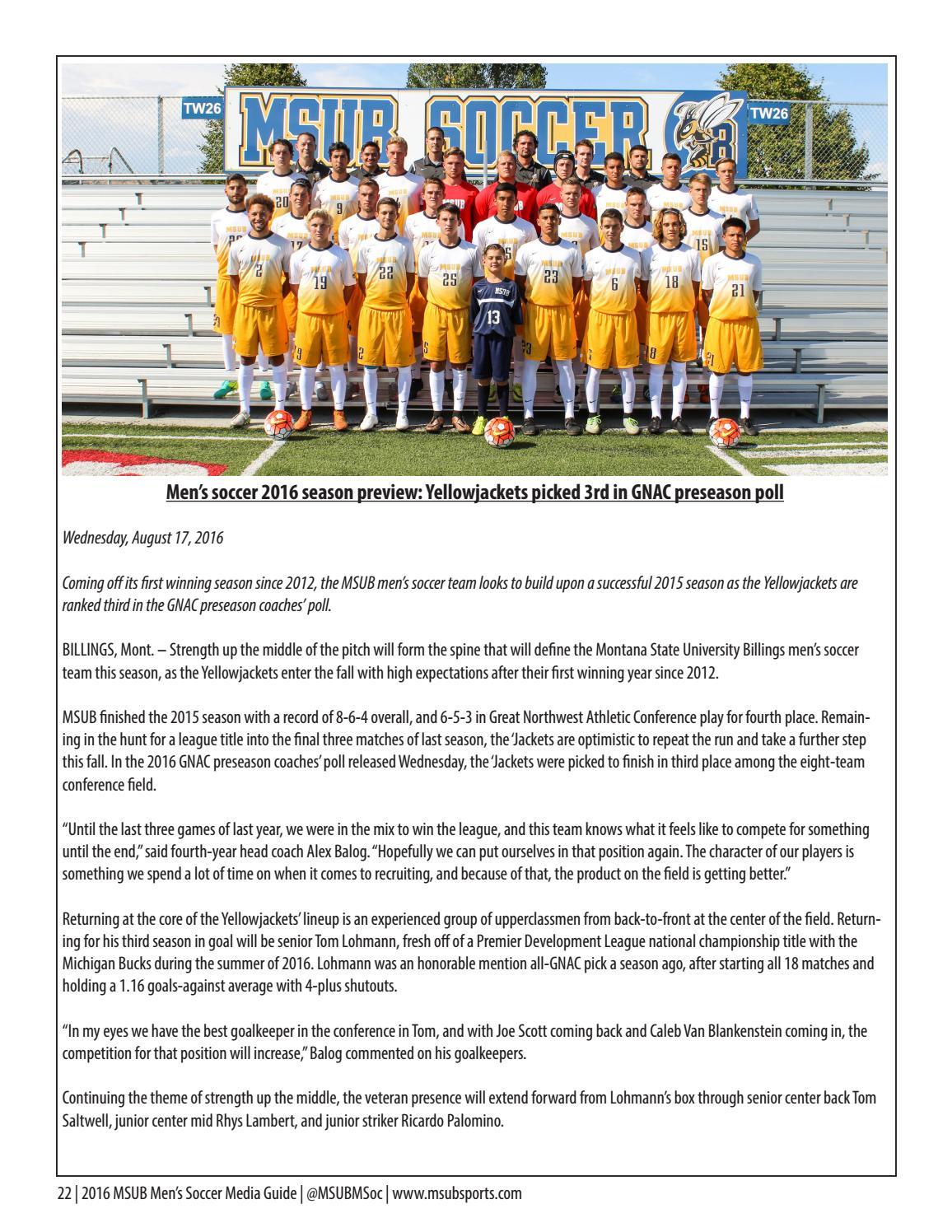 MSUB Men's Soccer 2016 Media Guide by MSUB Sports - issuu