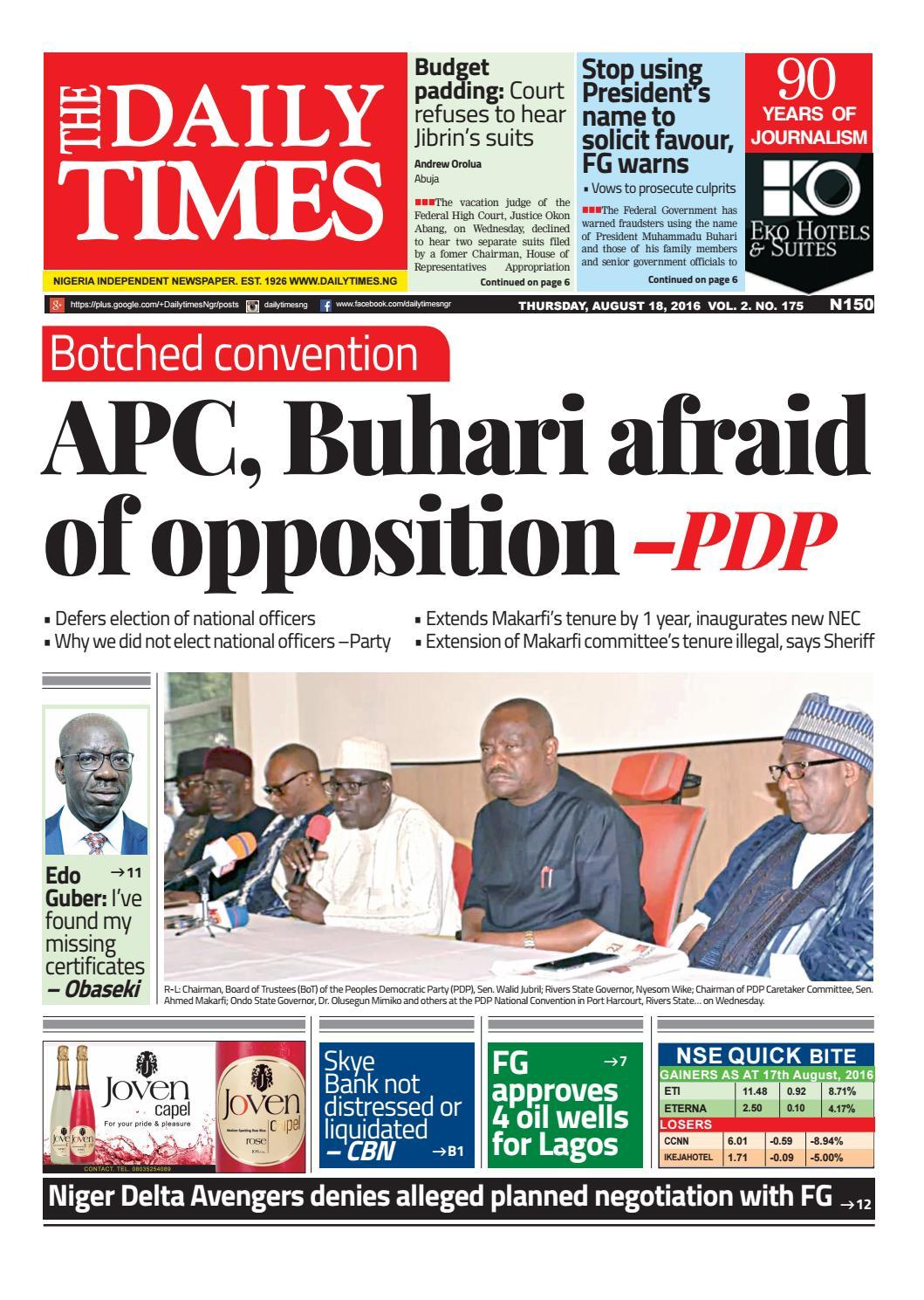 4dd275ae75fd0 Dtn 18 8 16 by Daily Times of Nigeria - issuu