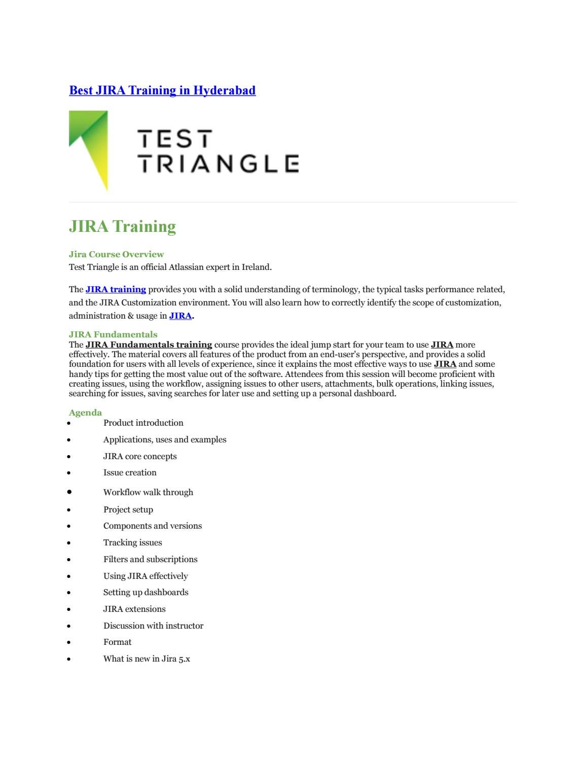 Jira Support and Training In Test Triangle by Test Triangle - issuu