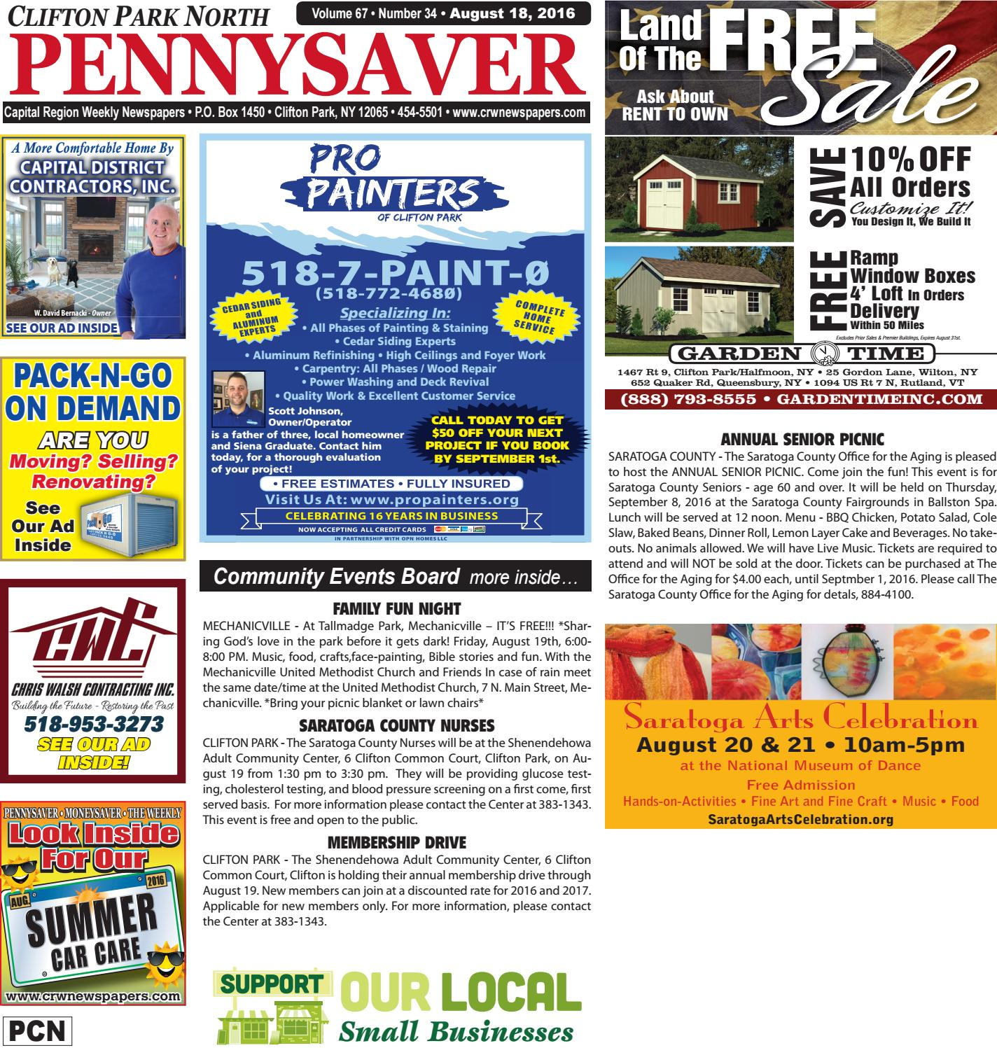 Clifton Park North Pennysaver 081816 By Capital Region Weekly Newspapers Issuu