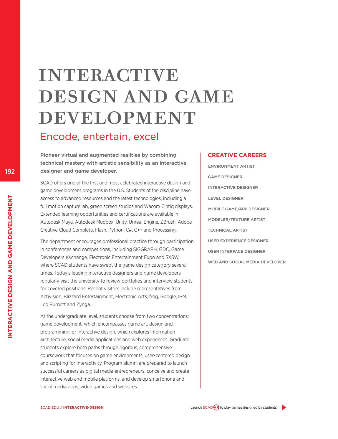 SCAD Academic Catalog By SCAD Issuu - Advanced game design with flash