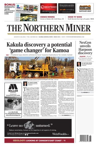 The Northern Miner August 22 2016 Issue by The Northern
