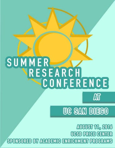 2016 UC San Diego Summer Research Conference Program By Academic