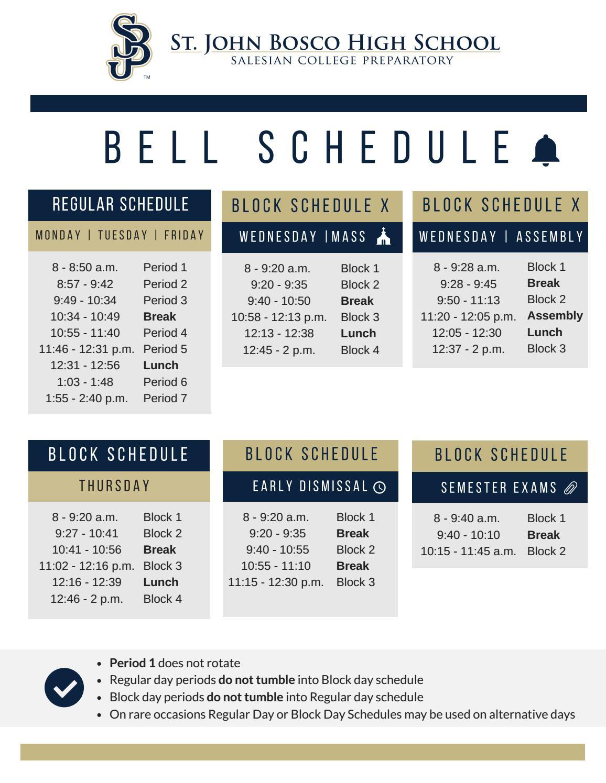 Daily Bell Schedule 2016-2017 by St  John Bosco High School - issuu