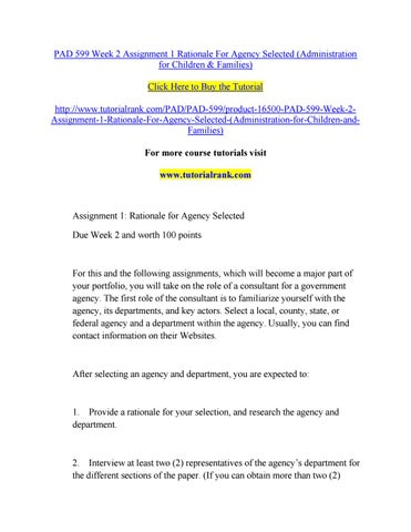 PAD/530 PAD530 PAD 530 Assignment 1 Rationale and Analysis for Agency Selected Part I - LATEST
