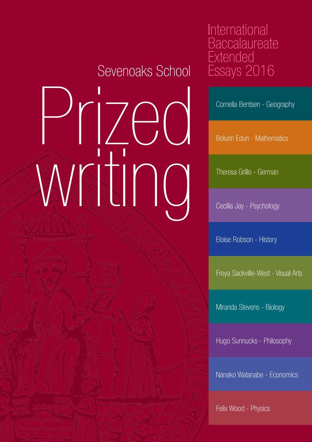 Sevenoaks School - IB prized writing 2016 by sevenoaks