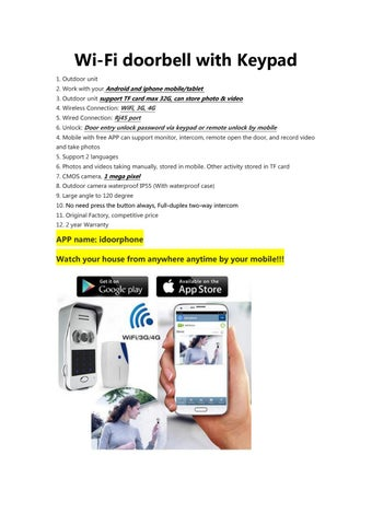 Specification for new wifi doorbell with keypad by wireless