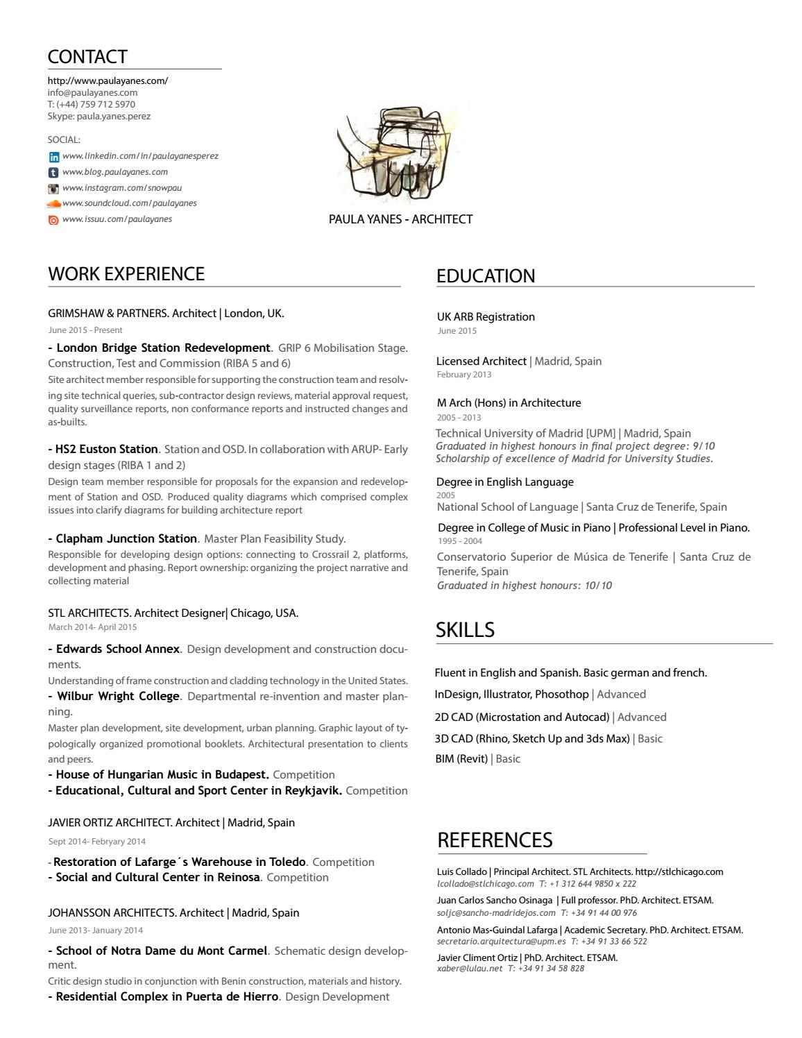 Cv Resume Paulayanes Architect By Paula Yanes Issuu