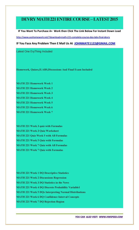 devry math 221 week 7 homework
