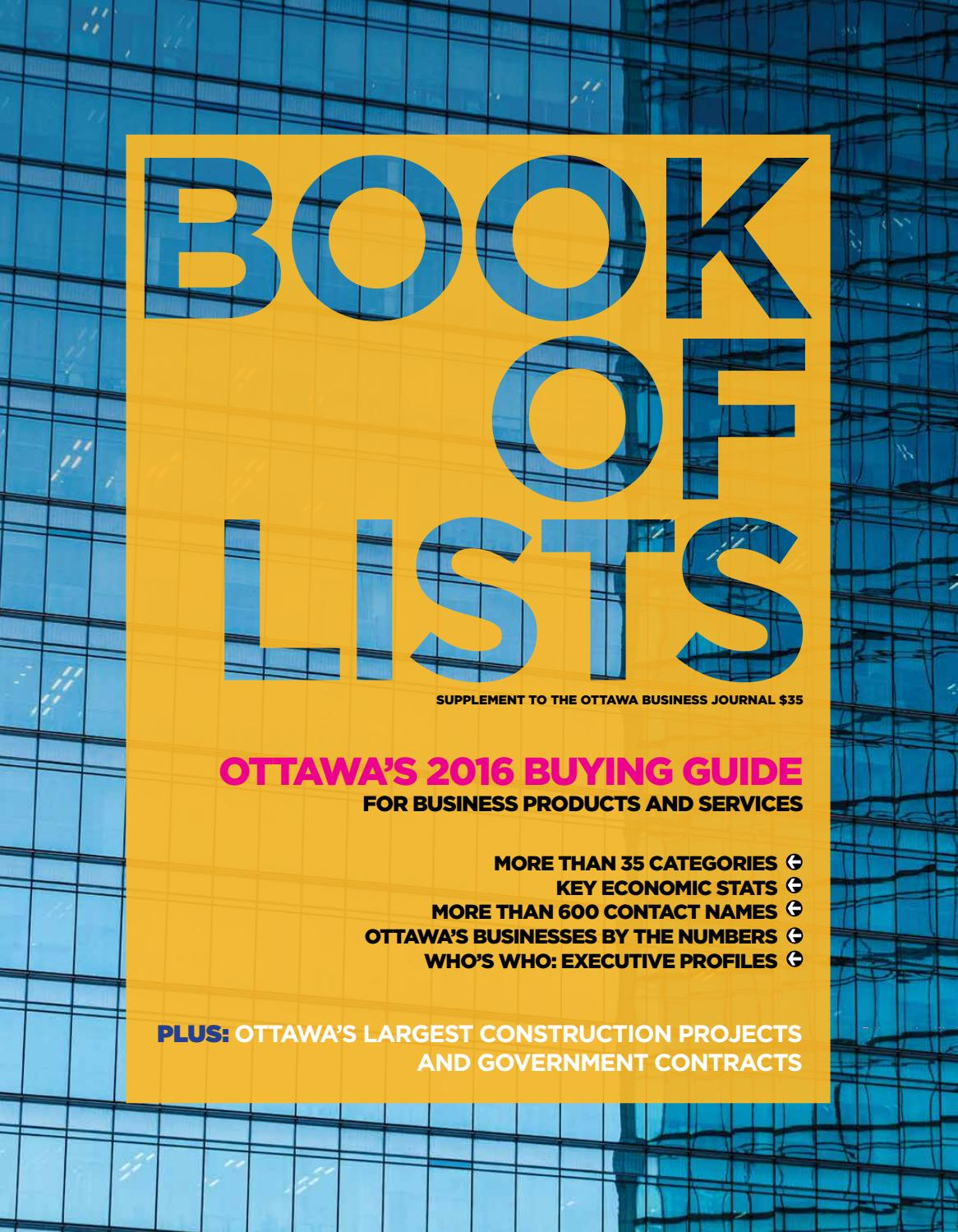 Ottawa Business Journal - Book of Lists 2016 by Great River Media ...