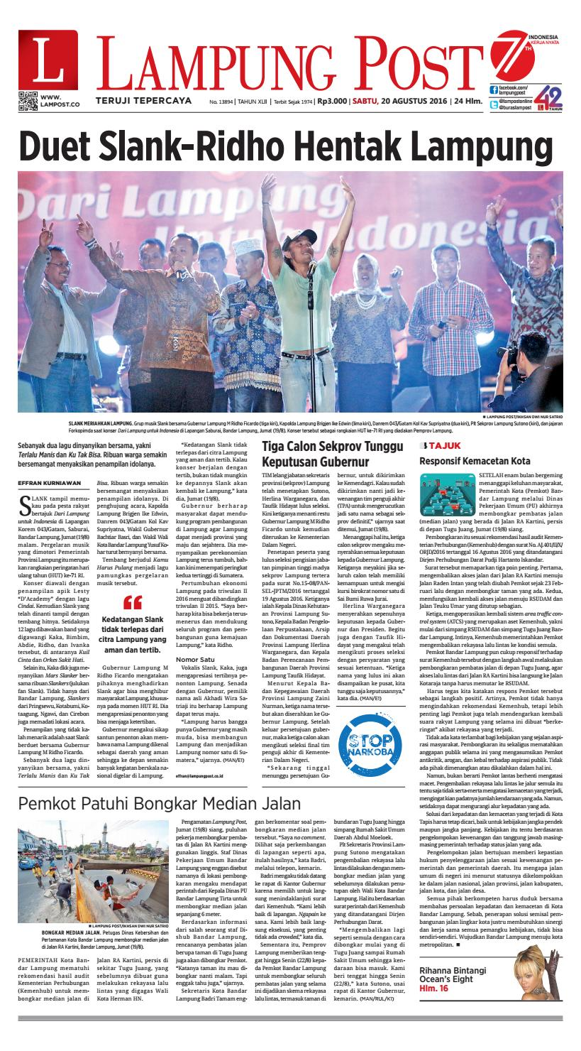 Lampung Post Sabtu 20 Agustus 2016 By Issuu Kopi Robusta Yoen Iskan Akumandiri