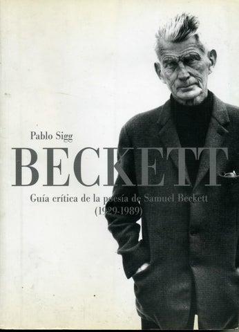 Guía Crítica De La Poesía De Samuel Beckett1929 1989 Pablo