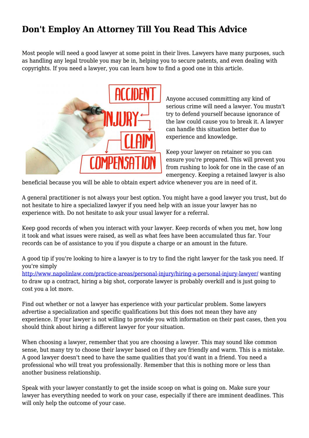 Only Read This If Youre Prepared To >> Don T Employ An Attorney Till You Read This Advice By Kimi70elke Issuu