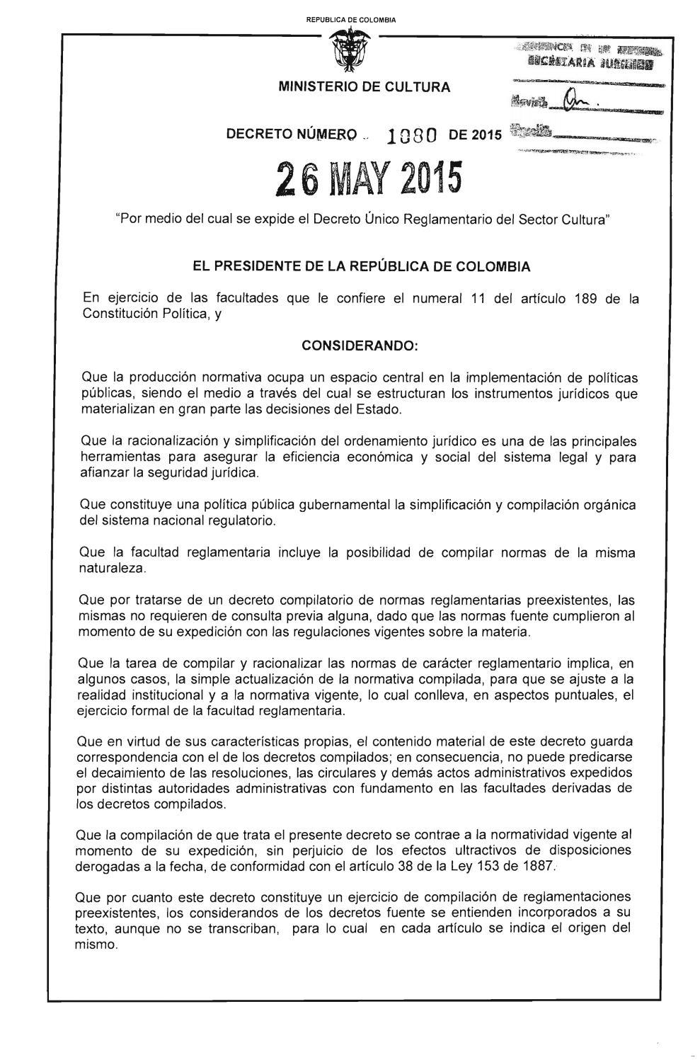 Decreto 1080 26 mayo 2015 by Movimiento Político MIRA - issuu