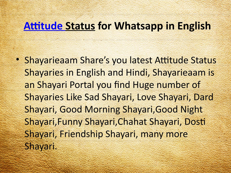 Attitude status for whatsapp in english by Shayarieaam - issuu