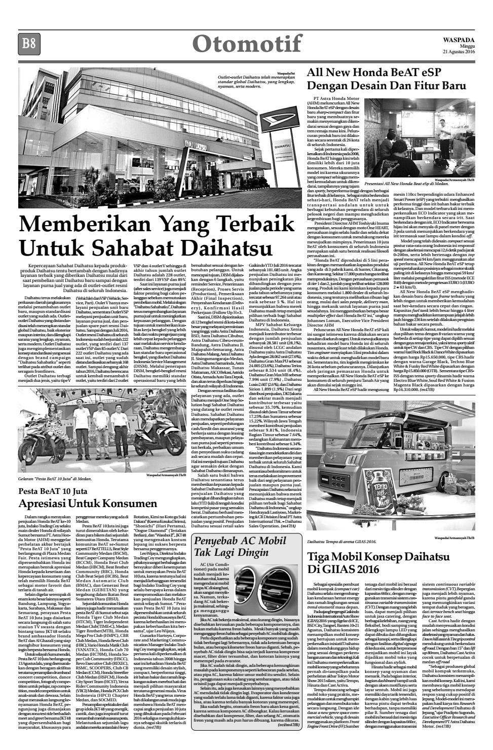 Waspada Minggu 21 Agustus 2016 By Harian Issuu All New Beat Sporty Esp Cbs Iss Soul Red White Kota Semarang