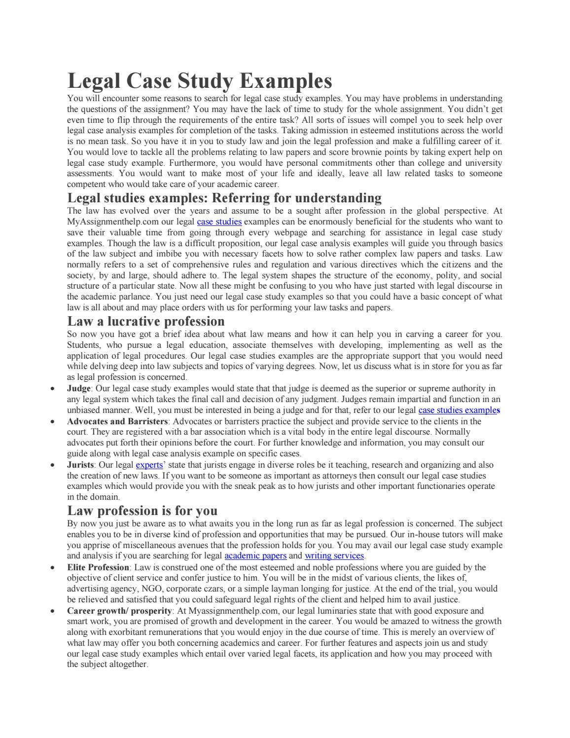 Case study analysis paper examples
