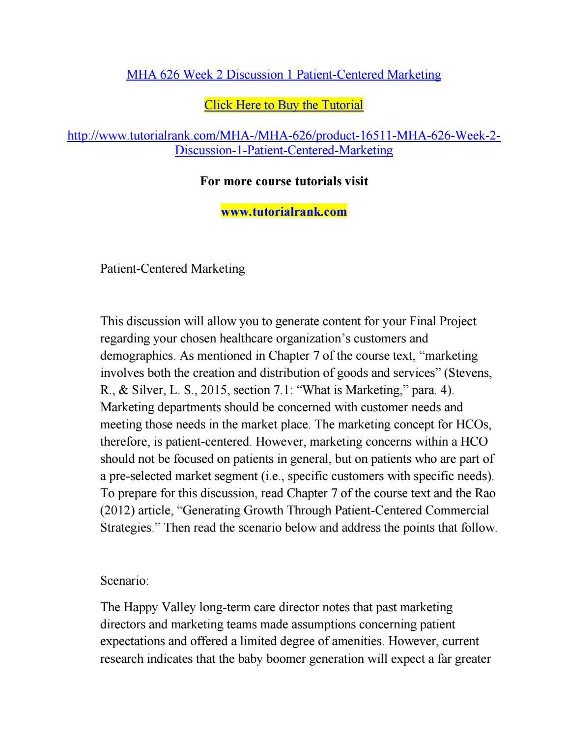 Marketing plan mha 626