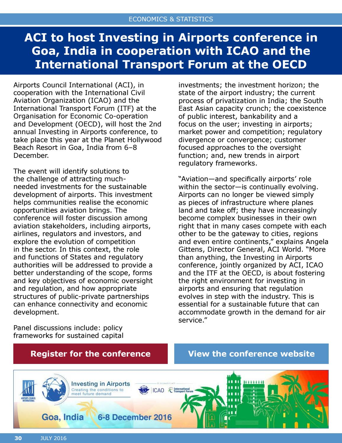 ACI World Report - July 2016 by Airports Council