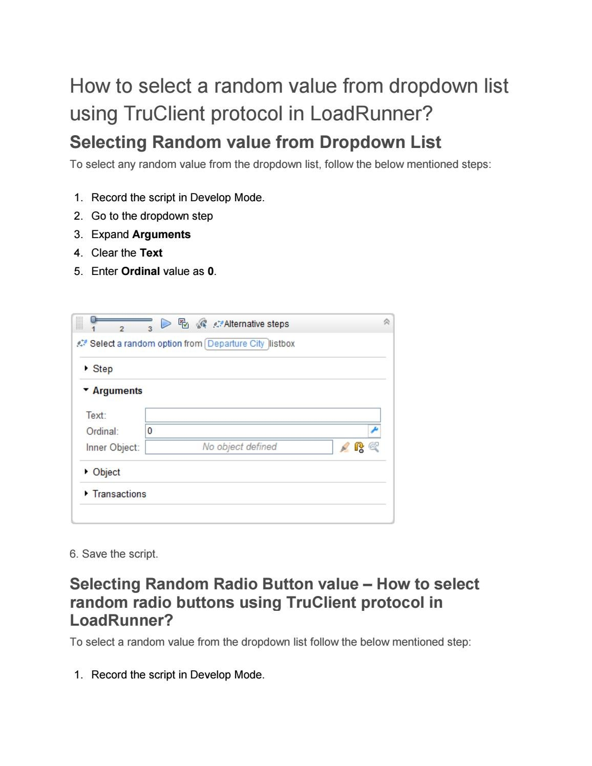 Procedure to select Random Value Using Truclient Protocol in