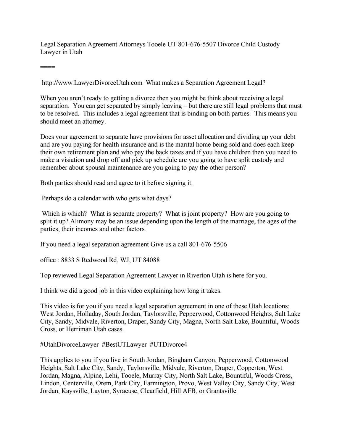 Legal Separation Agreement Attorneys Sandy City Ut 801 676 7308