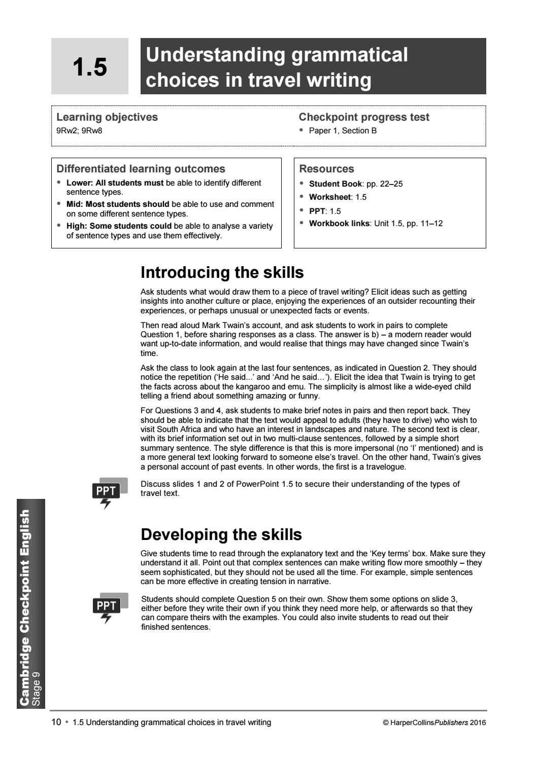 Cambridge Checkpoint English: Stage 9 Teacher's Guide by