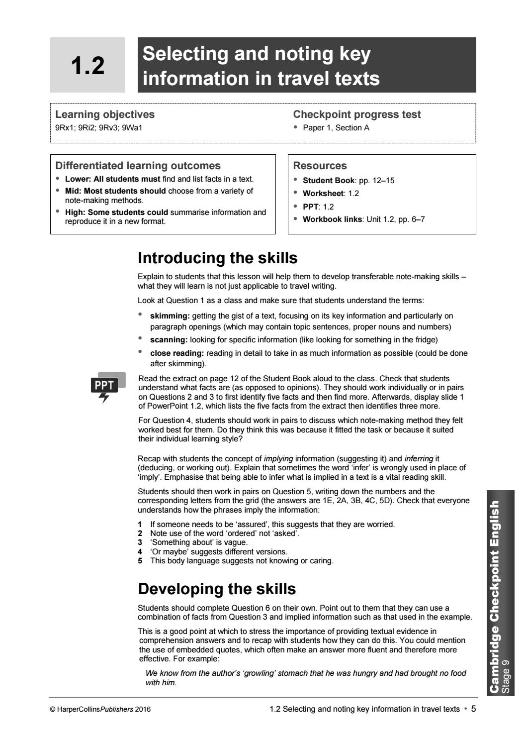 Cambridge Checkpoint English: Stage 9 Teacher's Guide by Collins - issuu