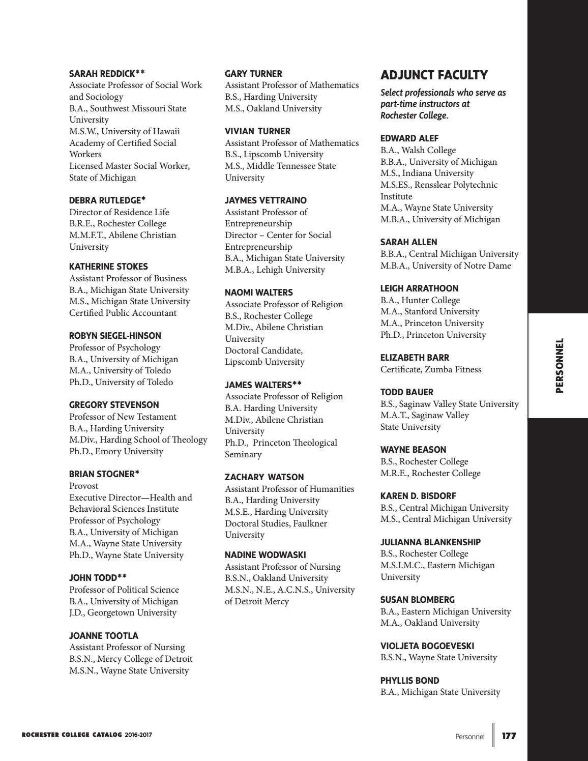 2016-17 Rochester College Course Catalog by Rochester
