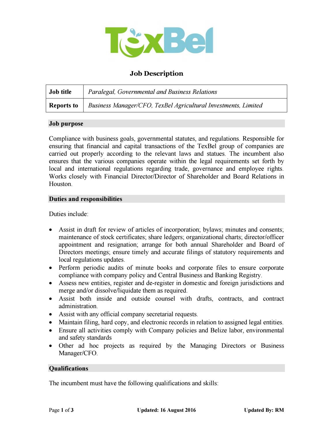 Job description paralegal texbel by beltraide issuu - Compliance officer bank job description ...