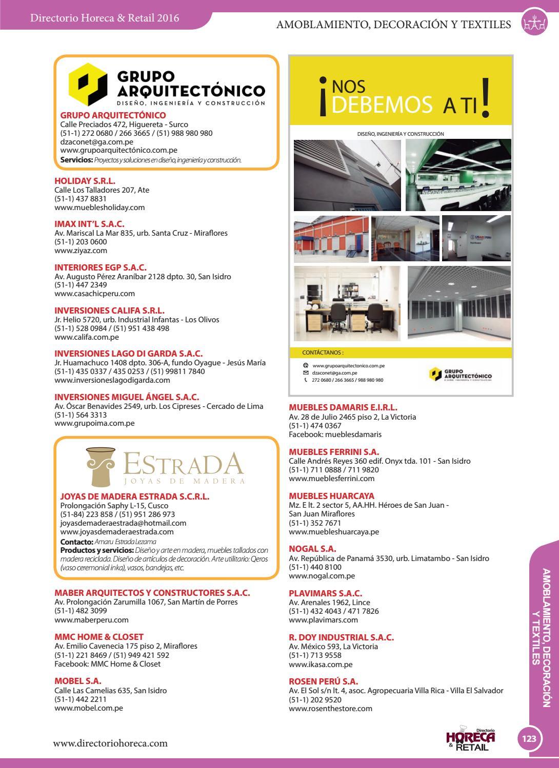 Directorio Empresarial Horeca Retail 2016 By Revista Industria  # Muebles Huarcaya