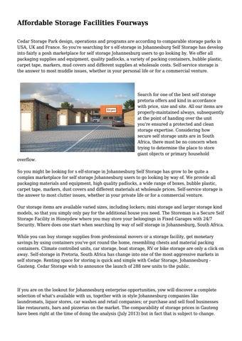 Affordable Storage Facilities Fourways By 0selfstoragepretoria Issuu