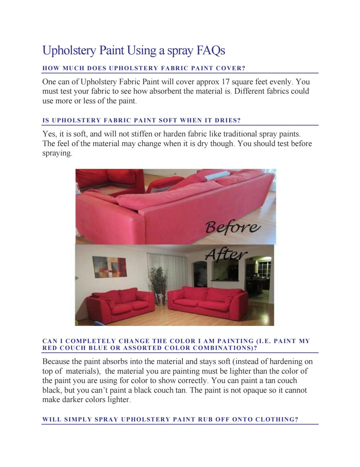 Upholstery paint using a spray faqs by Simply Spray - issuu