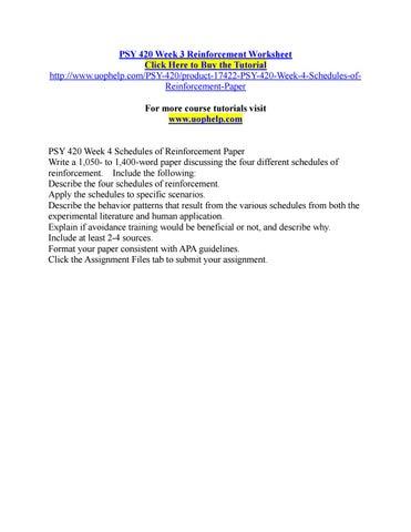 Psy 420 Week 3 Reinforcement Worksheet By Marvel72 Issuu