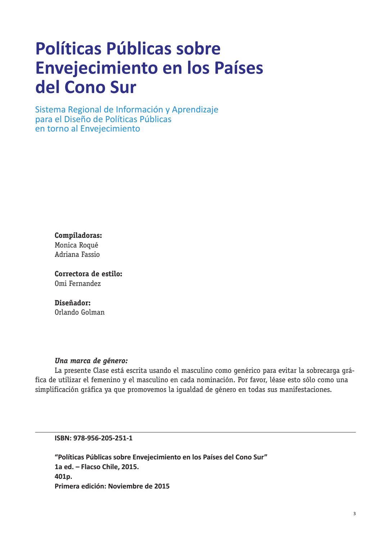 Políticas públicas sobre envejecimiento en los países del cono sur by  Flacso Chile - issuu