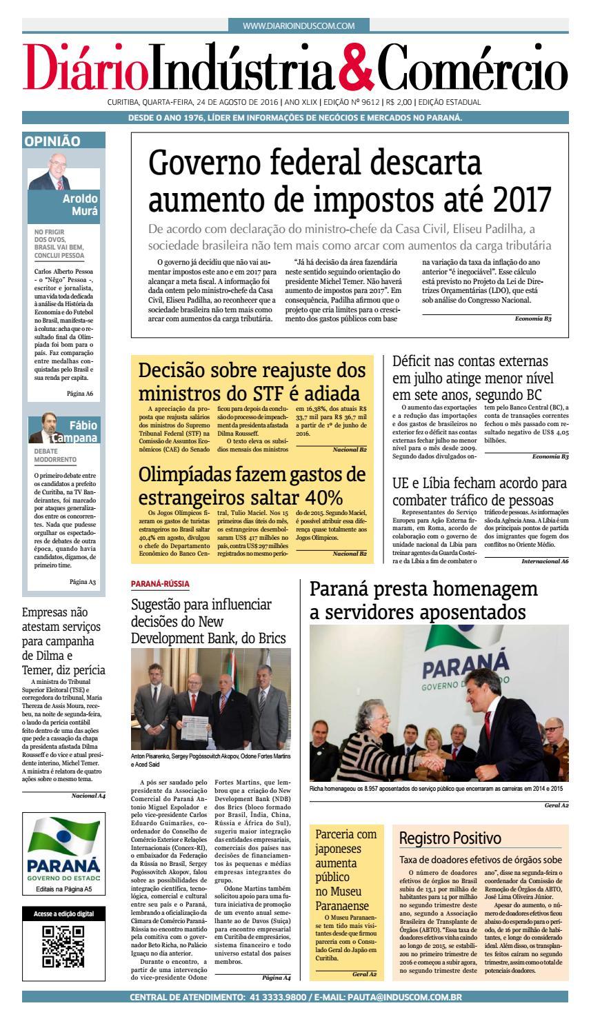 00659909b Diário Indústria Comércio - 24 de agosto de 2016 by Diário Indústria    Comércio - issuu